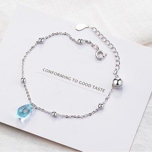 NEW 925 Sterling Silver Crystal Waterdrop Bracelet